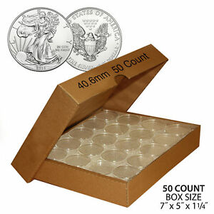 50 US 1oz SILVER EAGLE Direct Fit Airtight 40.6mm Coin Capsule QTY: 50 w BOX