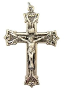 Sterling Silver 2 14 Inch Cross Crucifix Pendant with Flared Floral Edge Design