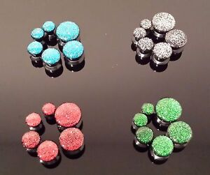Glitter acrylic plugs pair 2 Red Blue Green Silver screw fit double flare gauge