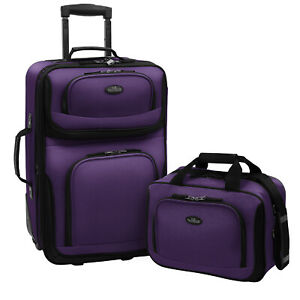 Carry on Rio Purple Rolling Lightweight Expandable Suitcase Tote Bag Luggage Set