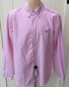 Ralph Lauren Mens polo pink striped button front sport large custom oxford shirt