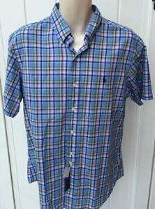 Ralph Lauren Mens polo sport shirt button front ss small custom fit nwt plaid