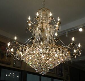 X-LARGE GRAND CRYSTAL BRASS CHANDELIER - CZECHOSLOVAKIAN CRYSTALS - 4.5 FT WIDE