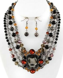 Black brown gray Rhinestone bib festoon necklace earring set RUNWAY jewelry  new