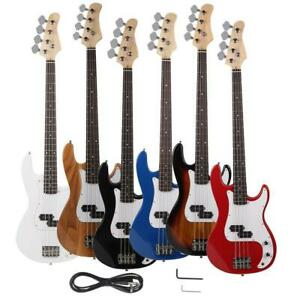 New Vintage Brand 4 String Electric Bass Guitar Black Blue White Red Yellow $69.99