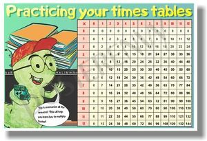 Times Table Chart NEW Classroom Math POSTER