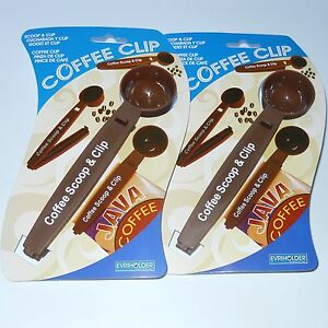 2 EVRIHOLDER PLASTIC COFFEE SCOOP & BAG CLIP 1 TABLESPOON 6¼