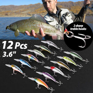 12 PCS 3.6quot; Fishing Lures Crankbaits Hooks Minnow Baits Tackle Twitching Bass