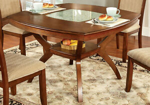 Redding Transitional Dining Table Glass Center Solid Wood Oak Open Display Shelf