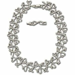 Genuine Swarovski Open Heart Rhodium Plated Link Necklace - Free shipping