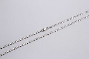 14k Solid White Gold Men Women 2mm Cuban Link Chain Necklace Size 16