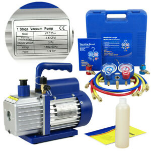 Combo 35CFM 14HP Air Vacuum Pump HVAC + R134A Kit AC AC Manifold Gauge Set $96.73