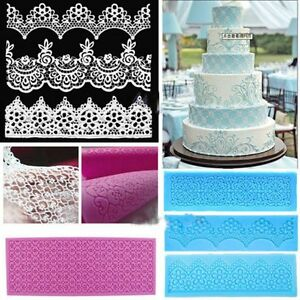 Pink Lace Silicone Mold Mould Sugar Craft Fondant Mat Cake Decorating Bake Tools