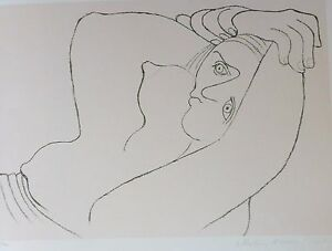 PABLO PICASSO Femme Couchee LITHOGRAPH Hand signed by Marina Picasso Estate Coll
