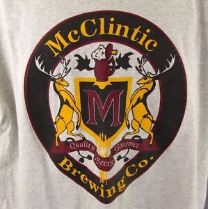 McClintic Brewing Company T-Shirt XL Beer Tee Gray Extra Large Stag Deer Buck