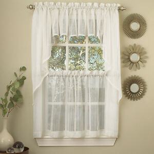 Harmony White Micro Stripe Semi Sheer Kitchen Curtains Tier or Valance or Swag