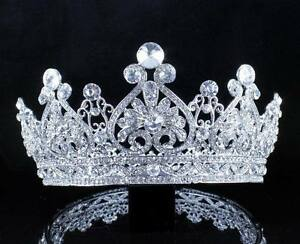 VINTAGE FULL CROWN CLEAR AUSTRIAN CRYSTAL RHINESTONE TIARA PAGEANT PROM T12159 $14.99