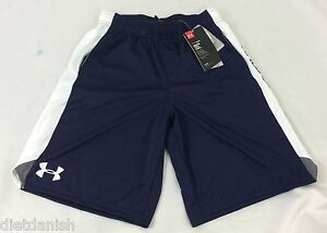 Under Armour BOY'S Heat Gear SHORTS Navy Blue White YOUTH Size S