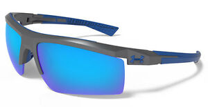 UNDER ARMOUR Core 2.0 Sunglasses Satin Carbon  Gray w Blue Mirror Lens + Sleeve