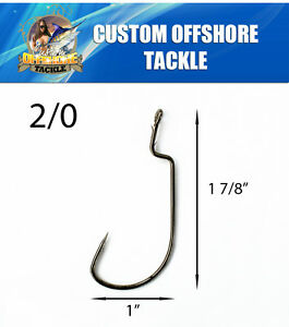 100 Size 20 Custom Offshore Tackle Non Offset Extended Shank Worm Hooks Black