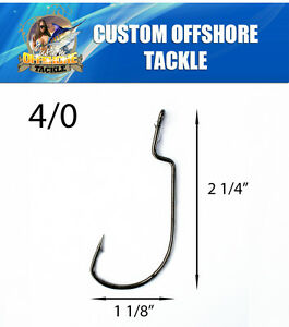 100 Size 40 Custom Offshore Tackle FAT WIRE NonOffset Shank Worm Hooks Black