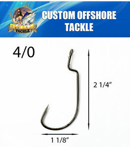 100 Size 40 Custom Offshore Tackle Non Offset Extended Shank Worm Hooks Black
