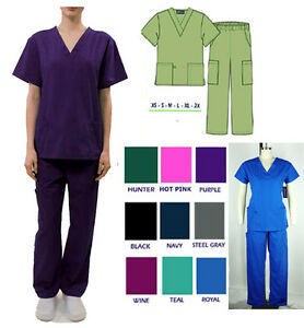 Medical Nursing Scrub Sets Soft 6 Pockets Women Uniform