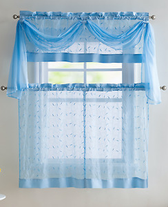 VCNY Embroidered Leaf 4-Piece Kitchen Curtain Tier & Scarf Set - Assorted Colors