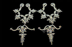 1 pair 4 pcs Shoes Applique AB Crystal Rhinestone Sewing On Silver (K616)