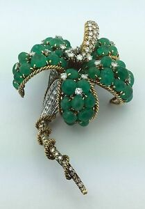Ladies Estate Piece Designer David Webb 18K Gold Diamond & Emerald Flower Pin
