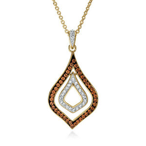 Smokey Topaz Fashion Pendant Made with Swarovski Crystals In Gold-Plated Bronze