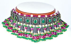 14-16KT 279CT ZAMBIAN EMERALD RUBY BASRA PEARL DIAMOND CHOKER NECKLACE EARRINGS