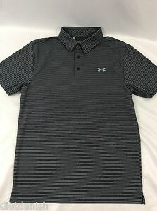 Under Armour MEN'S Athletic Golf Polo Loose Grey Black Stripes Size 2XL XXL