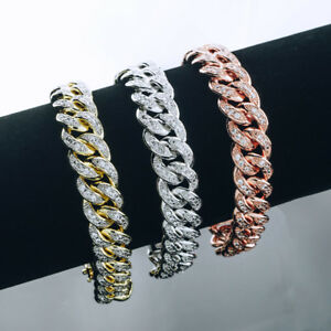 18k Gold Iced Out CUBAN LINK Miami Chain Lab Diamond Mens Rose Silver BRACELET