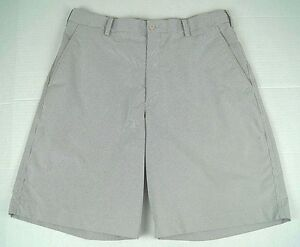 Nike Golf Men's FIT DRY Tour Flat Front Casual Shorts Grey White Stripes Sz. 34