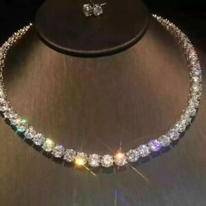 18k White Gold Tennis Necklace Earrings Set made w Swarovski Crystal Bridal