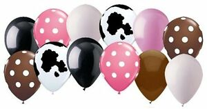 12 pc Cowgirl Inspired Polka Dot Latex Balloon Party Decoration Western Cow Girl $8.25