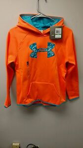 Under Armour Girls' Fleece Big Logo Hoodie Cyber Orange Youth Large