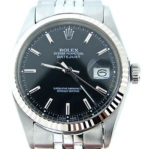 Mens Rolex Stainless Steel18K White Gold Datejust Black wJubilee Band 1601