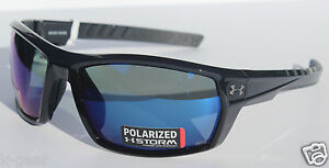 UNDER ARMOUR Ranger POLARIZED Sunglasses Shiny BlackBlue Storm Sport NEW $160