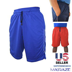 Mens Basketball Gym Fitness Workout Athletic Shorts with 2 Pockets M-XL Fast Dri