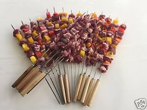 Flat Stainless Steel skewers with wooden handle (Pack of 40 ea)