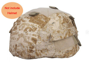 Airsoft Tactical Military Helmet Cover w Back Pouch for MICH 2002 Ver2 Sandstorm