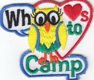 WHOO LOVES TO CAMP Iron On Patch Scouts Cub Girl Boy Camping