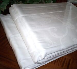 White QUEEN Sheet Set 100% EGYPTIAN Cotton 500TC Sferra Giannina Jacquard Scroll