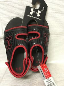 YOUTH BOYS UNDER ARMOUR FLASH SANDAL BLACK RED RETAIL $34.99   SIZES 13  1  2  3