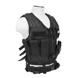 NcSTAR CTV2916B PVC Military Tactical Heavy Duty Vest w Pistol Holster Black
