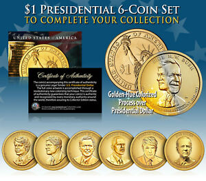 LIVING PRESIDENTS 2016 Presidential Dollar Color GOLDEN HUE 5 Coin Set *MUST SEE