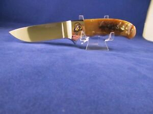 Schrade D'Holder Custom Ram Horn Fixed Blade Hunting Knife & Sheath Mint Rare
