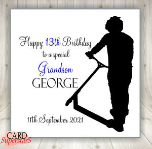 Personalised Stunt Scooter Birthday Card Brother Son Grandson Nephew 6